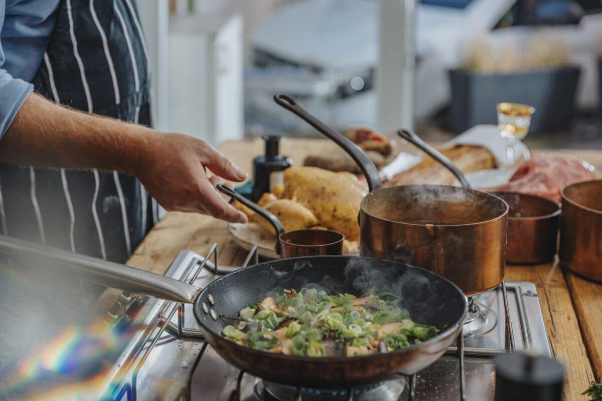 Kochbegriffe: ein Koch bereitet an einem Herd ein Essen zu, vor ihm stehen mehrere Pfannen und Töpfe.