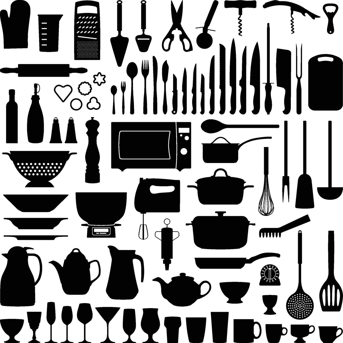 Verschiedenste Küchenutensilien von Töpfen bis Messern in einer Grafik vereint.