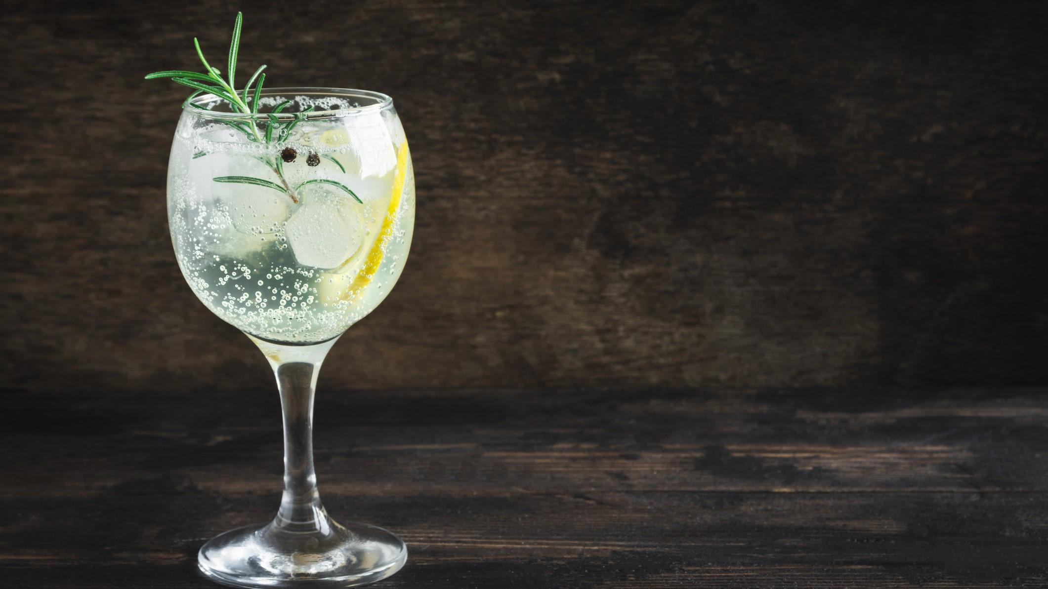 Ein Glas Gin Tonic Spritz mit einer Zitronenscheibe, Rosmarin und Eiswürfeln, vor einem dunklen Hintergrund.