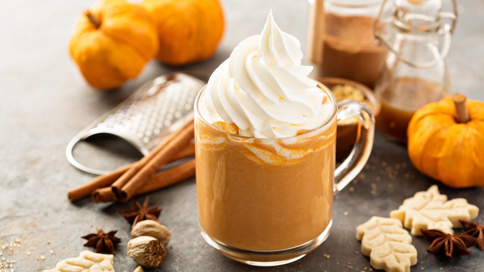 Eine Glastasse mit Pumpkin Spice Latte getoppt mit viel Schlagsahne neben Zimtstangen, Nelken, Muskatnuss, kleinen Kürbissen, Keksen und Gewürzen vor einem grauem Hintergrund.